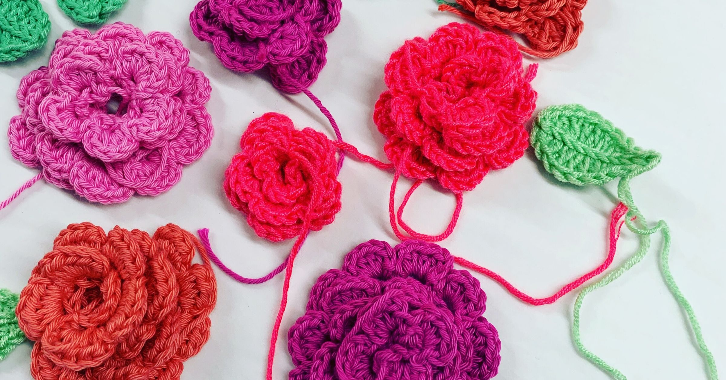 Lock Down Craft Tutorials Crochet flowers and leaves by It Started With a Stitch