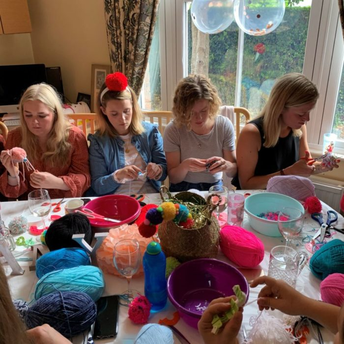 Pompom making in action